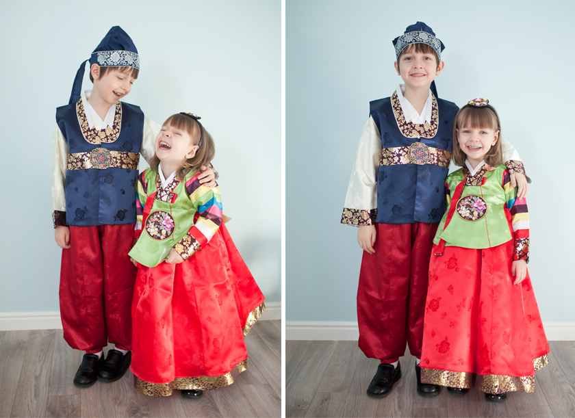The kids in their hanbok for New Year's last year.
