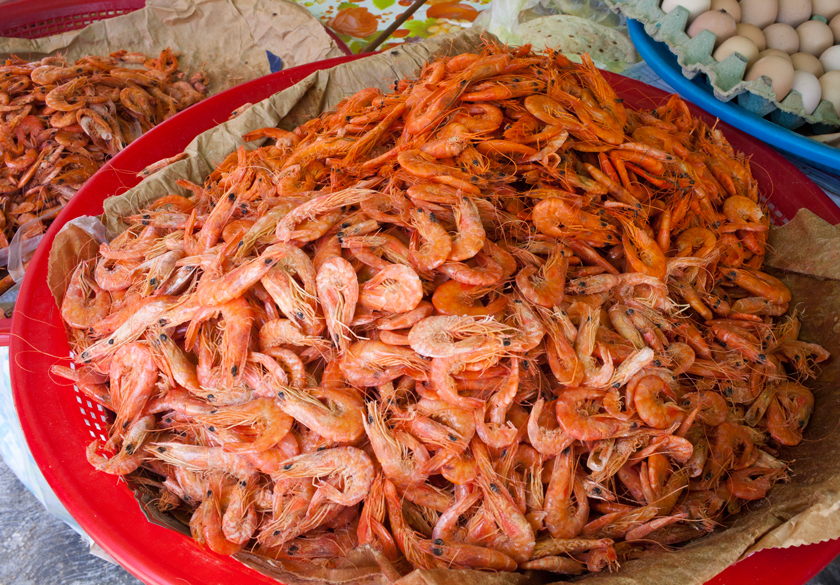 Shrimp for sale. Mercado 23 Cancun Mexico